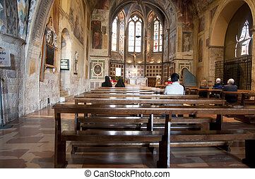 Interior of Basilica in Assisi - Interior of Basilica of...