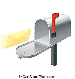 Mail box with letter - Detailed vector illustration of an...