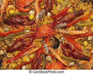 mariscos, español, paella