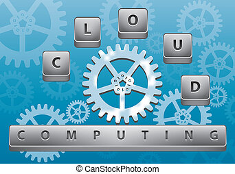 Cloud computing illustration - Cloud computing abstract...
