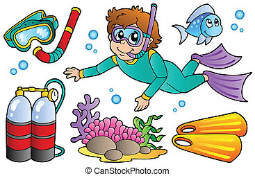 Scuba diving collection - vector illustration