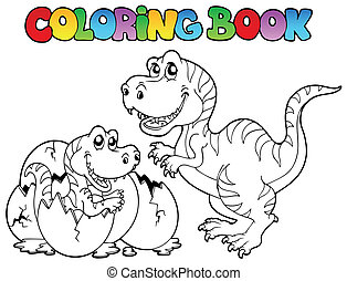 Coloring book with tyrannosaurus - vector illustration