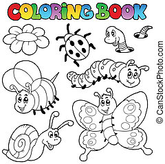 Coloring book with small animals 2 - vector illustration.