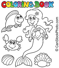 Coloring book with mermaid - vector illustration