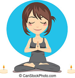 Relaxed Woman - Cute brunette woman doing yoga lotus...