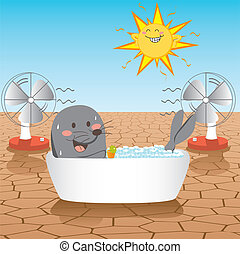 Fight Global Warming - Seal fighting global warming desert...
