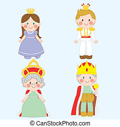 Royal Family - Set of four cute royal family characters