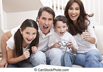 Happy Family Having Fun Playing Video Console Games - Happy...
