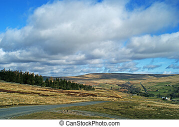 Moorland Road - Road and view of the Yorkshire Dales, UK