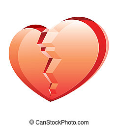 Broken heart - Vector illustration of a broken heart on...