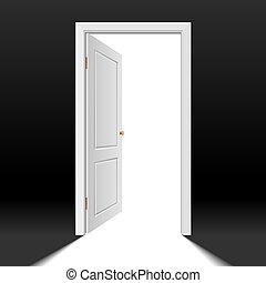 kinyitott, ajtó