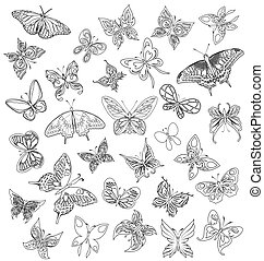Set black white butterflies of a ta - Black a white set of...