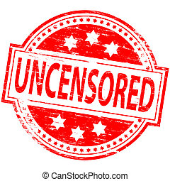 Uncensored Stamp - Rubber stamp illustration showing...