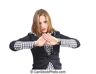No - Young woman gesturing no and stop with hands
