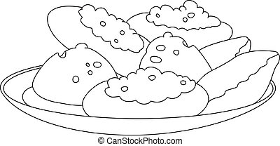 tasty pastry outlined - illustration of a tasty pastry...