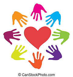 hand-heart - Sign - hand drawn to the heart