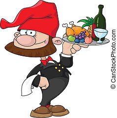 waiter gnome with food tray - illustration of a waiter gnome...