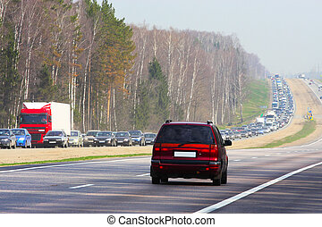 traffic jam - The image of traffic jam on the country road