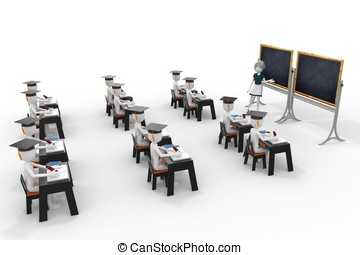 3d classroom with teacher and pupils isolated on white