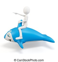 3d man riding a blue dolphin