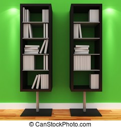 3d shelves with blank books