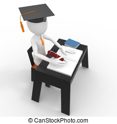 3d man student taking a test