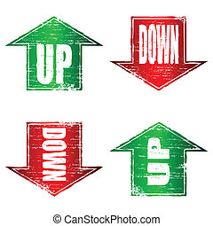 Up and Down Arrows Stamp - Up and Down Arrows grunge stamps...