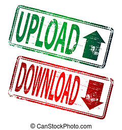 Upload Download Stamp - UPLOAD and DOWNLOAD grunge rubber...