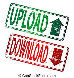 Upload Download Stamp - UPLOAD and DOWNLOAD grunge rubber...