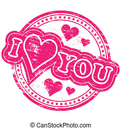 "I love you stamp - Rubber stamp illustration showing ""I LOVE..."
