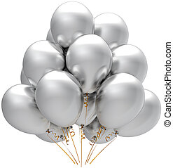 Silver party balloons decoration