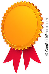 Blank award ribbon golden with red - Golden award medal with...