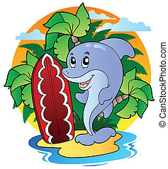 Dolphin with surfing board - vector illustration.