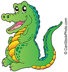 Cartoon standing crocodile - vector illustration
