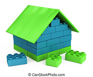 3D house of the plastic pieces - 3D plastic part of...