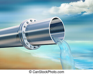 Clean Drinking Water - Illustration of a water pipe...