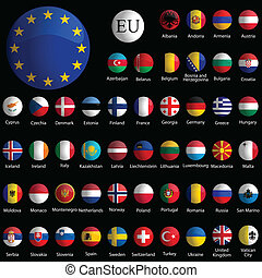 europe glossy icons collection against black background,...
