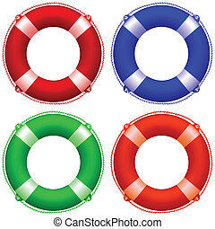 life buoy collection against white background, abstract...