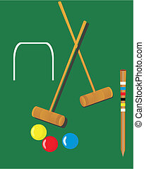 Croquet illustrations - Croquet mallets and 3 balls,yellow,...
