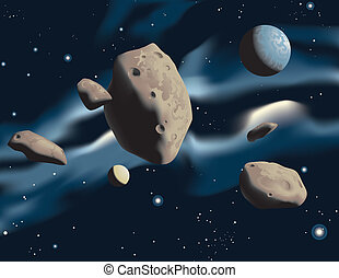 Asteroids - Vector illustration of asteroids drifting in...