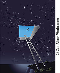 Ladder to Heaven Illustration - Vector illustration of a...