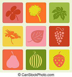 Nature pictures set. Vector illustration.