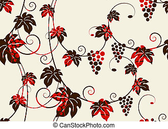 Seamless grape vines background. Vector illustration.