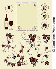 Grape vines and winery objects set.