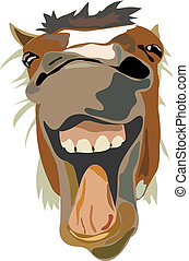 Illustration of the laughing horse - Vector Illustration of...