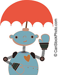 Cute Robot Umbrella Head