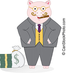Banker Pig - Vector art in Illustrator 8 Fat banker piggy...