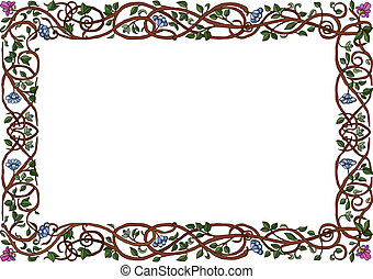 Intertwined Branches Frame - Vector art in Illustrator 8...
