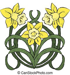 Nouveau Daffodils - Vector art in Illustrator 8. Yellow...