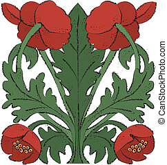 Nouveau Poppies - Vector art in Illustrator 8 Red poppies in...
